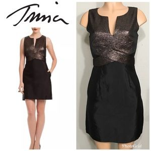 Trina Turk bronze metallic and black dress. NWOT